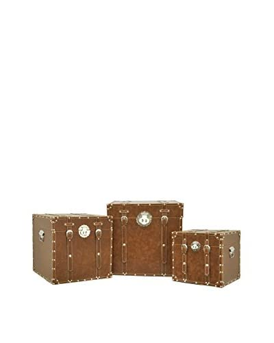Three Hands Set of 3 Faux Leather Trunks