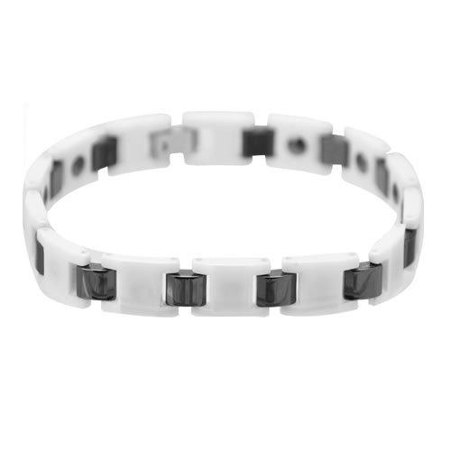 Gorgeous White Zirconia Ceramic Link Bracelet With Magnets