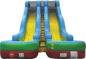 Inflatable 24 Foot High Double Bay Wet or Dry Slide- Includes Two 1.5 Hp Blowers and Free Shipping