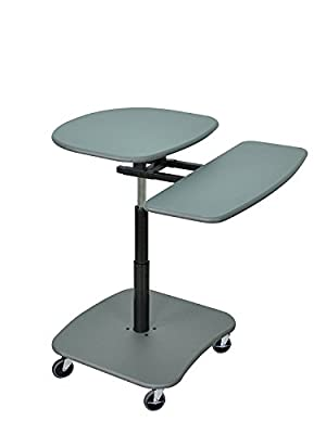 DMD Sit Down or Stand Up Desk, Hydraulic Adjustable Height Computer Mobile Workstation, 30 to 37 Inch with Keyboard and Printer or CPU Shelf