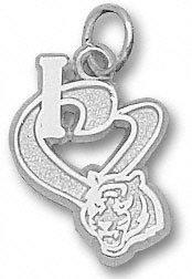 Cincinnati Bengals Sterling Silver ''I Heart'' Bengal Head 1/2'' Pendant