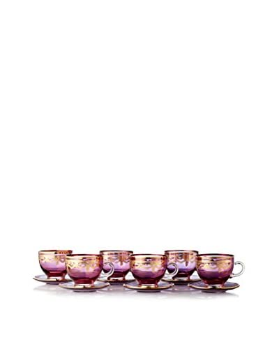 A Casa K Melodia Set of 6 Engraved Crystal Lory 6.4-Oz. Tea Cups & Saucers, Purple/Gold