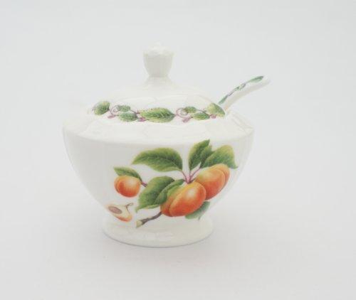 Abricot Pot à confiture et cuillère-Porcelaine fine à Conserves