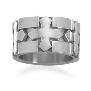 12mm 316l Stainless Steel Ring With Triple Cross Inlay Design - Size T 1/2 - JewelryWeb