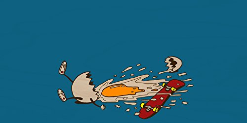 """""""Egg Skate"""" Funny Chicken Egg Shattered Yoke After Fall - Plywood Wood Print Poster Wall Art front-280137"""