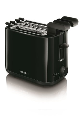 Philips Daily Collection HD2597/90 - Tostapane 650 W compatto con 2 fessure e riscaldamento, Nero