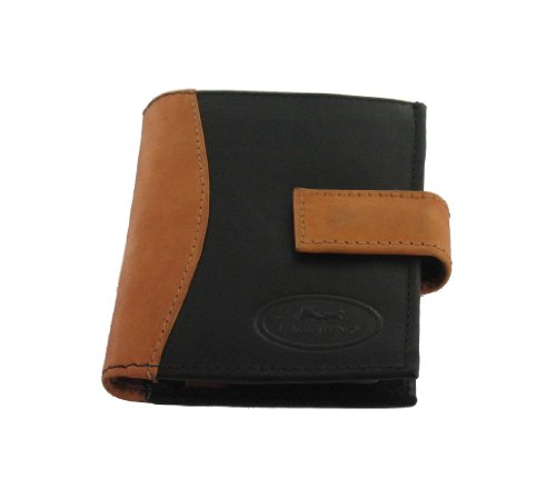 Men's Real Leather Small Black/Tan Wallet/Card Organiser (Wlt136)
