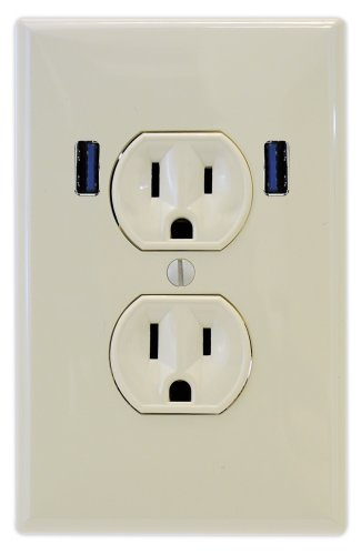 U-Socket Ace-8160 Light Almond 15-Amp Ac Standard Duplex Wall Outlet With Built-In Usb Charger Ports