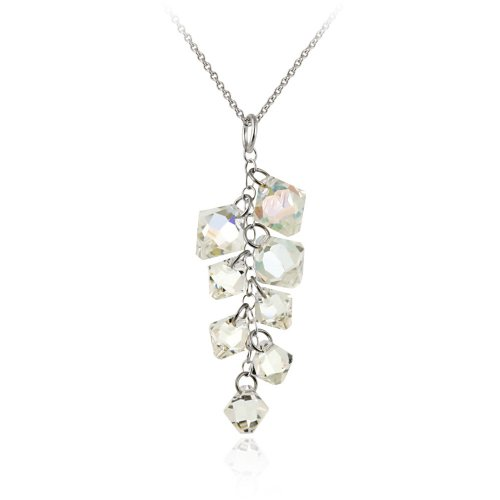 Sterling Silver Swarovski Elements Aurore Boreale Linear Drop Pendant Necklace with Rolo Chain, 18