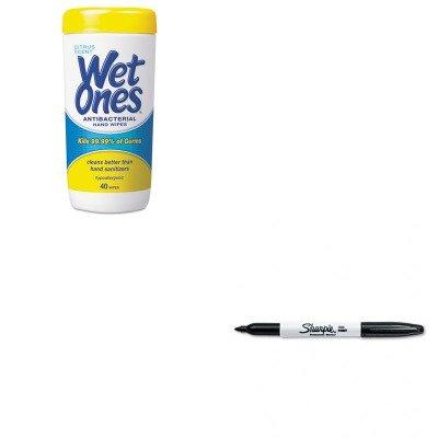 Kitplx4672San30001 - Value Kit - Wet Ones Antibacterial Moist Towelettes (Plx4672) And Sharpie Permanent Marker (San30001) front-982263