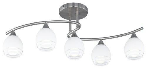 Trio Leuchten 605600507 - Lampadario in nichel opaco, con vetro bianco, strisce decorative trasparenti, 5 lampadine E14 max. 40 W, 72 x 27 cm