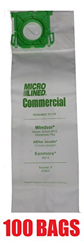 100 Sebo, Windsor Sensor Micro-Lined Commercial Upright Vacuum Bags, Fits 5093AM, 5300. 100 Pack. (Sebo Commercial Vacuum compare prices)