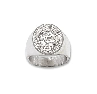 West Virginia Mountaineers Seal Mens Ring Size 10 1 2 - Sterling Silver Jewelry by Logo Art