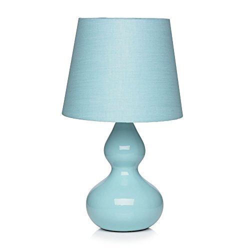 Colorful Bud Ceramic Table Lamp with Fabric Shade (Duck Egg) by LiGhTs