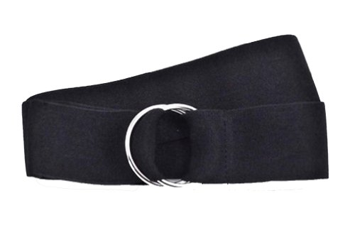 Fabulous Unisex Plain Canvas Stretch Elastic Belt w/Silver Metal Round Buckle 22 Color Available (Black)