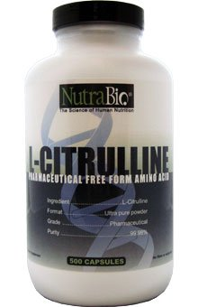 NutraBio L-citrulline (500 mg) - 500 capsules