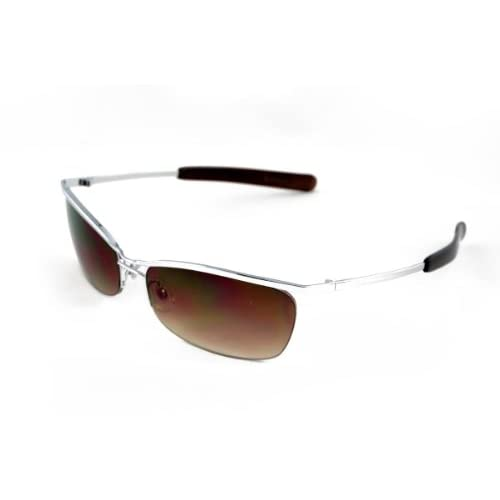 サングラス ハーフ メタル ブラック ブラウン 黒 茶 スモーク メンズ バイク スポーツ E260219-06 茶 F