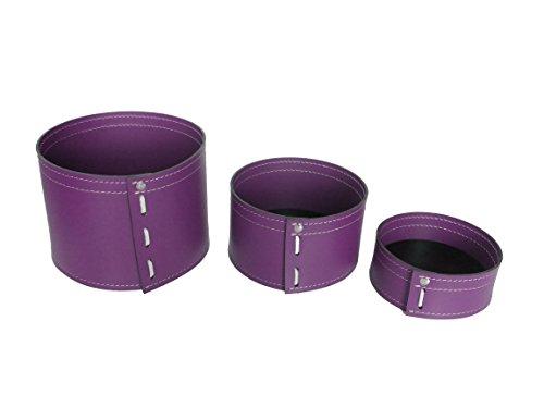 KOME 532: Set svuota tasche in cuoio rigenerato composto da 3 pezzi, colore Viola Ciclamino.