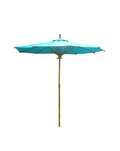 ZEW, Inc. Bamboo & Canvas Umbrella, Aqua