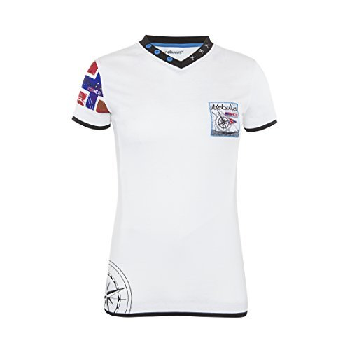 T184 - NEBULUS T-Shirt PATAGONIA, Scollo a V, Polo-maglietta - Donna, bianco, L/44