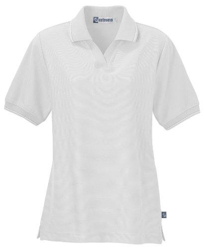 Women's Ladies' Mini Ottoman Polo Shirt, L, White w/ White / Sand / Black
