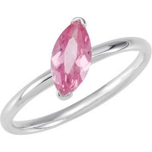 Sterling Silver Stackable Pink CZ Ring: Size 9
