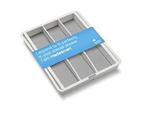 Madesmart 2 by 16 by 13-1/4 to 21-1/4-Inch Expandable Utensil Tray, White
