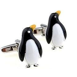 【Tigre Amore】 カフスボタン カフリンクス 蝶ネクタイ をつけた 可愛い ペンギン シルバー