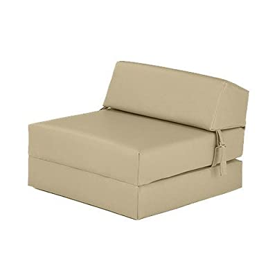 Cream Faux Leather Single Fold Out Foam Z Bed Guest Mattress Chair Bed