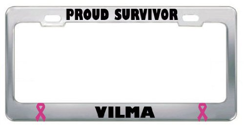 Vilma Proud Survivor Cancer Ribbon Stainless Steel Metal License Plate Frame Tag Border