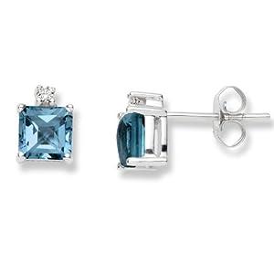 Miore - Boucles d'Oreilles Femme - Or blanc 375/1000 (9 carats) 0.85 gr - Topaze bleue et Diamants 0.04 cts