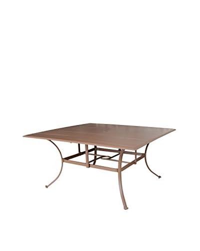 Panama Jack Island Breeze Slatted Aluminum Square Dining Table With Umbrella Hole, Espresso
