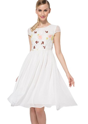 Osa Women Vintage Empire Waist Floral Chiffon Fit Flare Long Dress Size M White