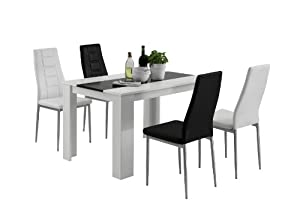 apollo 810549p essgruppe 5 teilig belinda esstisch st hle lederlook jede 2x schwarz wei. Black Bedroom Furniture Sets. Home Design Ideas