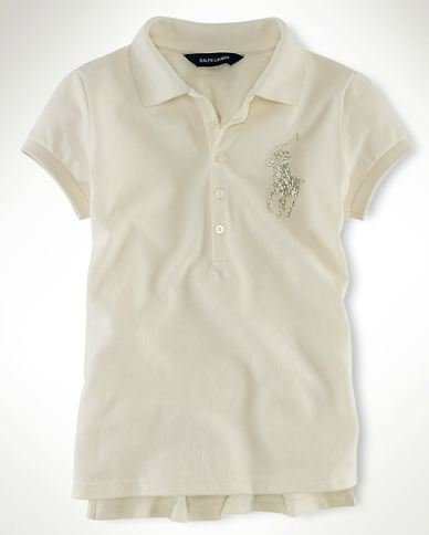 Ralph Lauren Sparkling Beaded Big Pony Polo Girl's Shirt Herbal White Milk Size M 8/10