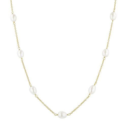Sterling Silver White Freshwater Cultured Pearl Tin Cup Necklace, 18