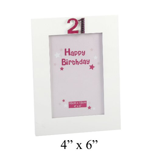 21st Birthday Photo Frame In White With The Number