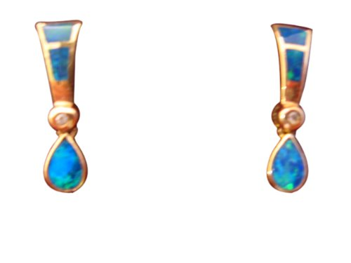 Click to buy Australian Opal Earrings: Australian Opal Inlay, Opal Doublet and Diamond Earrings from Amazon!