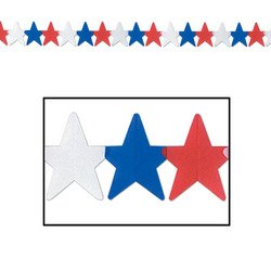 Patriotic Star Garland (red, white, blue) Party Accessory  (1 count) (1/Pkg)