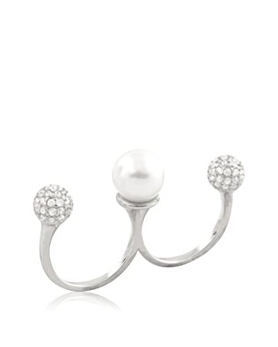 Splendid Pearls 10-10.5mm White Shell Pearl & CZ Double Finger Ring