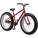"Mongoose Beast 26"" Mens Bike with Fat Tires Red Frame, Black Tires. Agile All Terrain Mountain Bikes. Guaranteed to Handle a Wide Variety of Terrain. Oversized Tires Make for Stability and Comfort. Mongoose Bicycles Go to Beach, Mountain, Road"