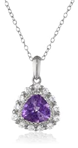 """Sterling Silver African Amethyst and Created White Sapphire Teardrop Pendant Necklace, 18"""""""