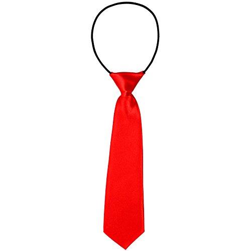 Cravatta DonDon da bambino effetto seta lucida - 7,0 cm di larghezza - con elastico - rossa