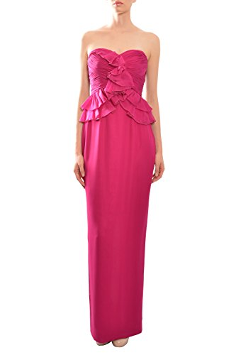 Marchesa Strapless Ruched Ruffle Fitted Silk Eve Gown Dress