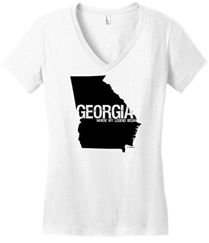 Georgia Where My Legend Began State Pride Juniors V-Neck X-Large White