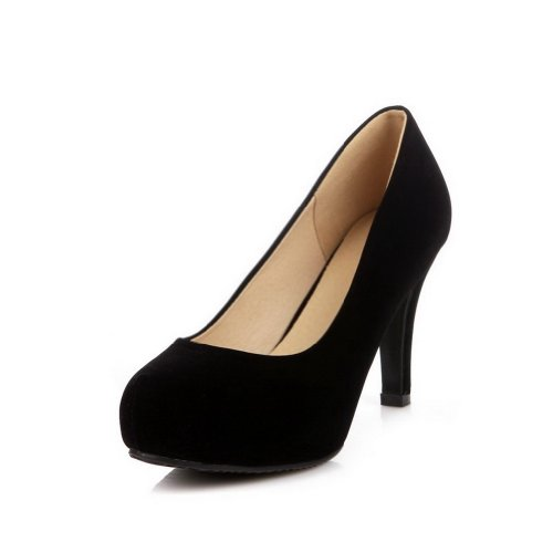Weenfashion Women'S Closed Round Toe High Heel Frosted Fabric Solid Pumps, Black, 34 front-39397