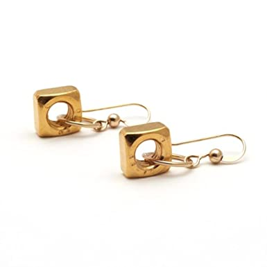 Single Gold Nut Drop Earrings by Alice Menter||RF10F