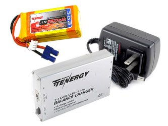 Combo: Tenergy 1-4 Cells Li-PO/Li-Fe Balance Charger and 11.1V 1350mAh 20C LIPO Battery Pack w/ EC3 Connector