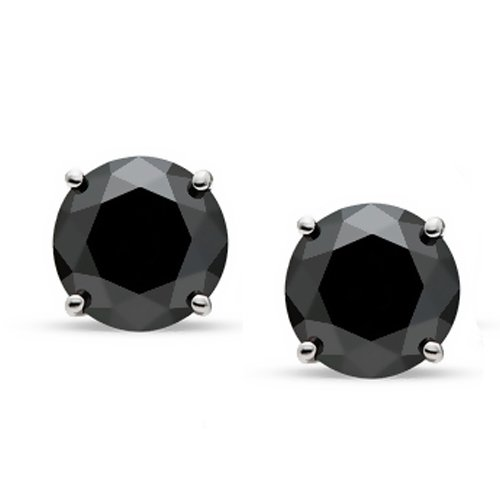 Bling Jewelry Mens Unisex CZ Round Black Stud Earrings 925 Sterling Silver 8mm