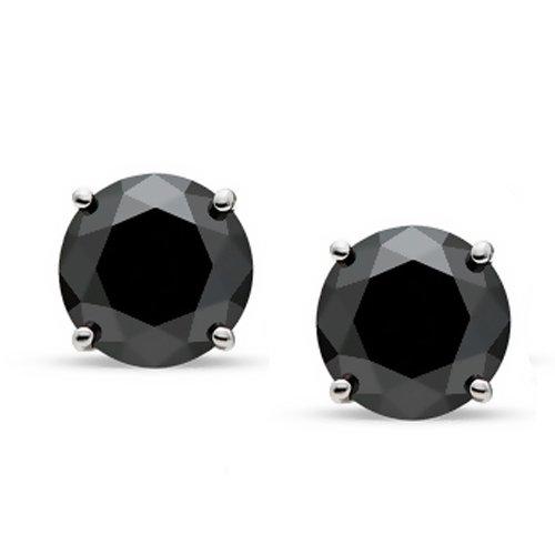 Bling Jewelry Mens Unisex CZ Round Black Stud Earrings 925 Sterling Silver 7mm